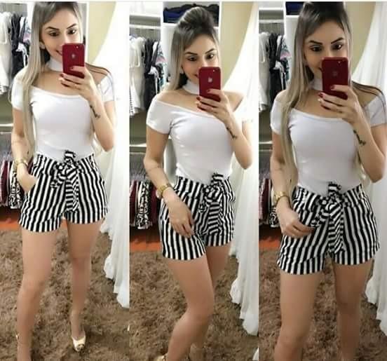 5ce7997e1 Shorts Feminino Listrado Lançamento Moda Instagram 2018 - R  36