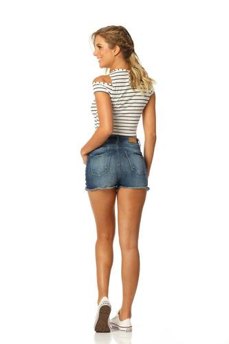 shorts feminino pin up com puídos denim zero - dz6148