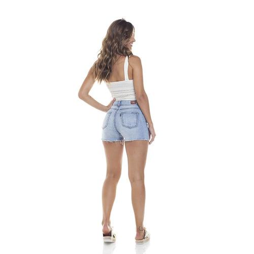 shorts feminino pin up com recorte denim zero-dz6279