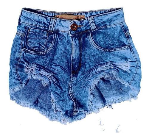 shorts jeans cos alto  desfiado claro manchado st011