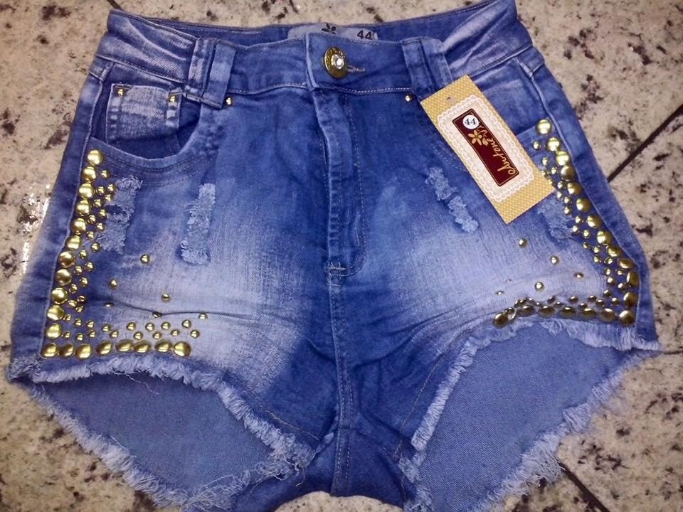 Shorts Hot Pants Jeans Com Lycra Strech Feminino Verao ...