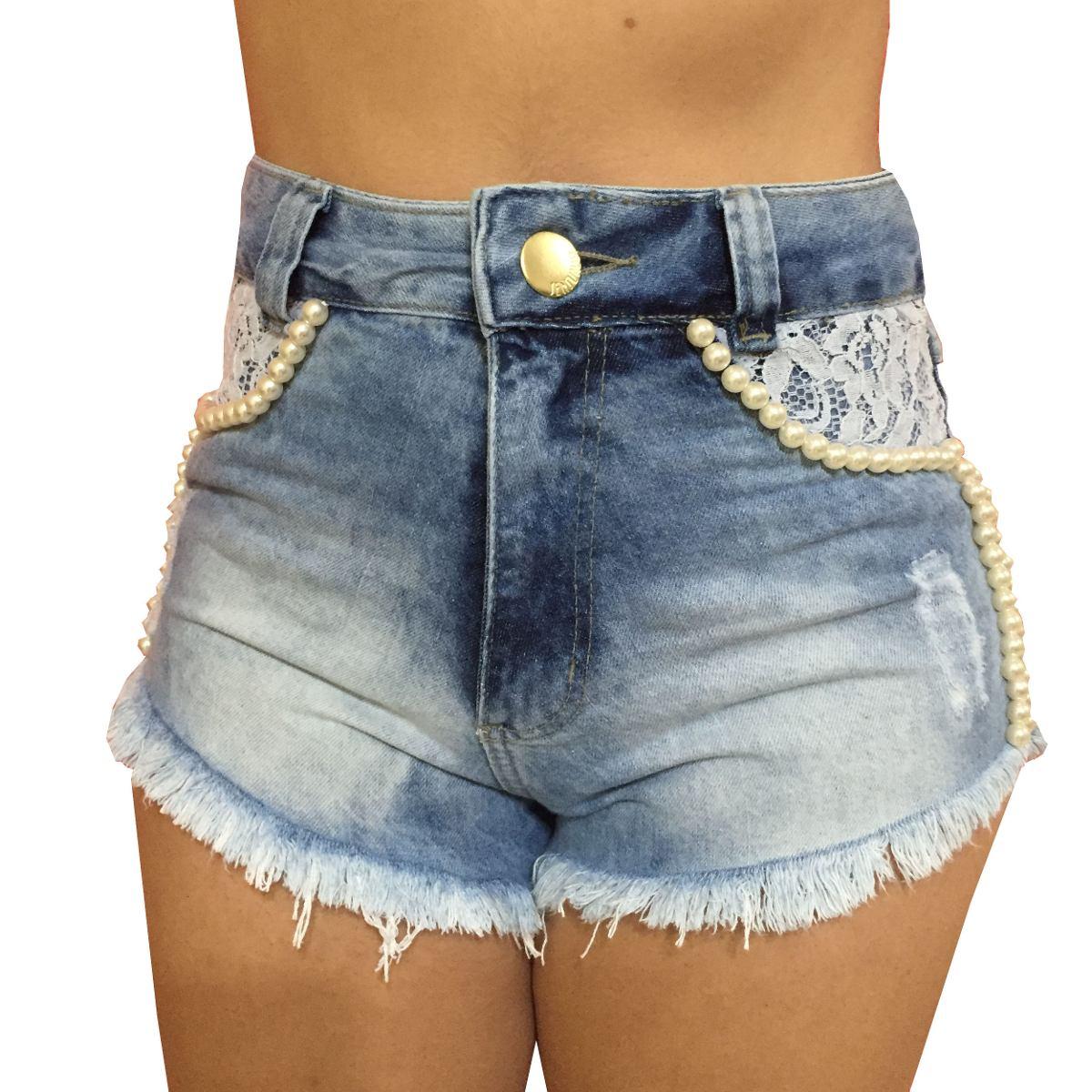 Shorts Cintura Alta Hot Pants Jeans Feminino Pu00e9rola E Renda - R$ 7990 em Mercado Livre