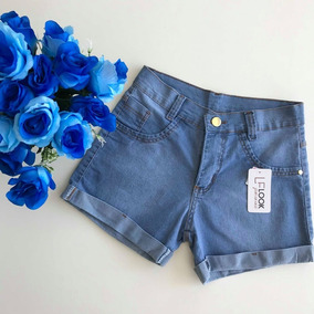 1c22d02e0b Shorts Jeans Feminino Barra Dobrada Azul Claro Moda Tumblr