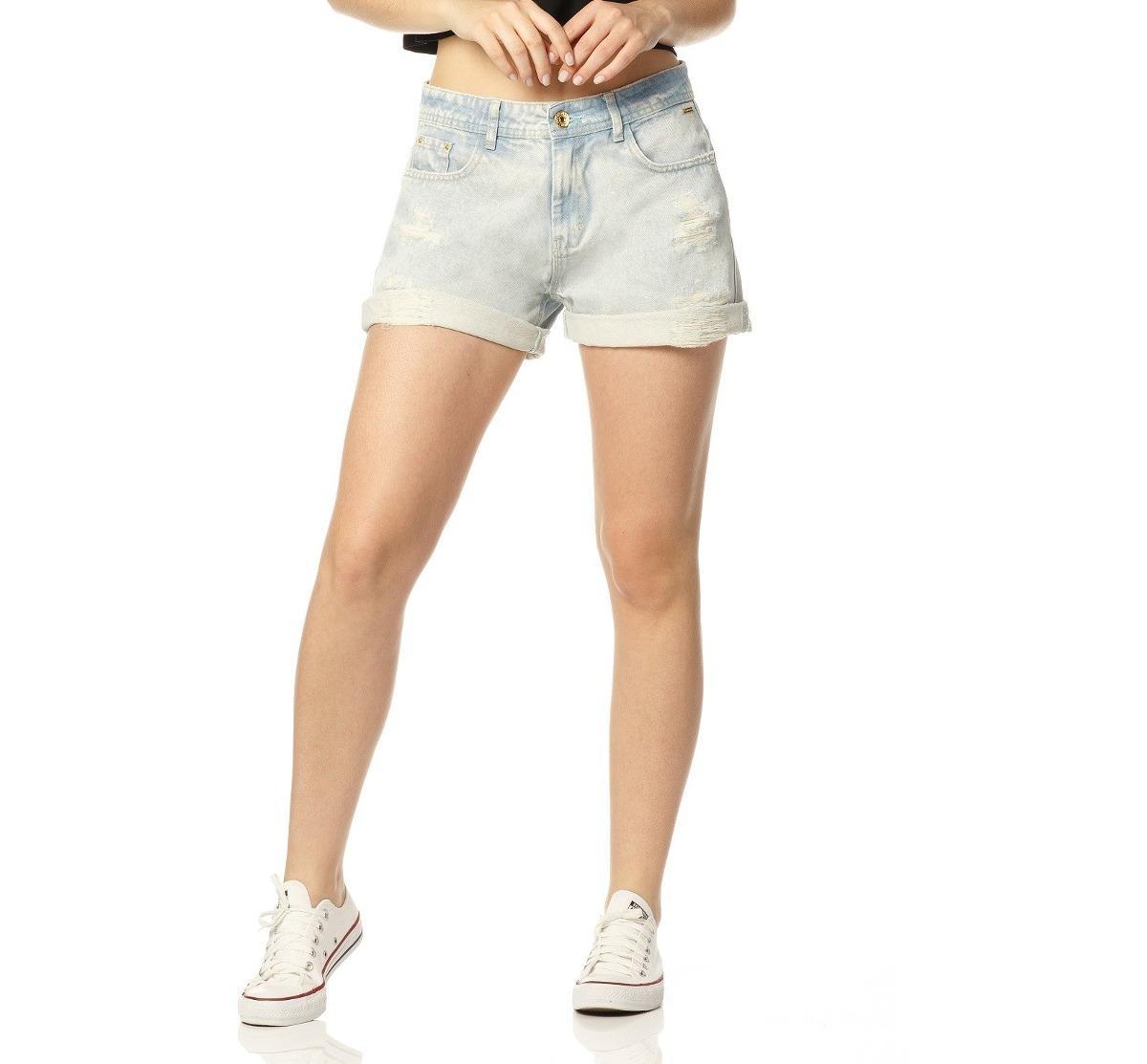 dfaa9d04a Shorts Jeans Feminino Boyfriend Sobreposto-sp6159 - R$ 114,90 em ...