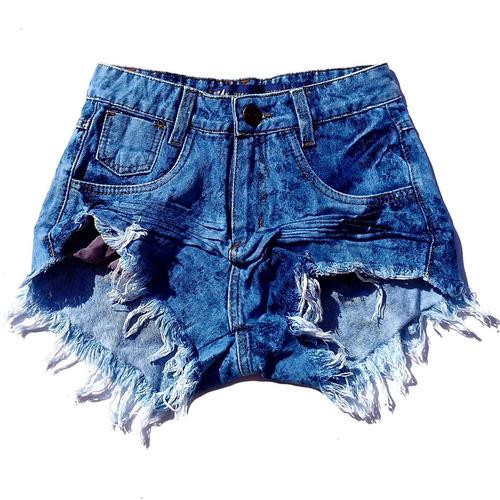 shorts jeans feminino desfiado manchado cintura alta st013