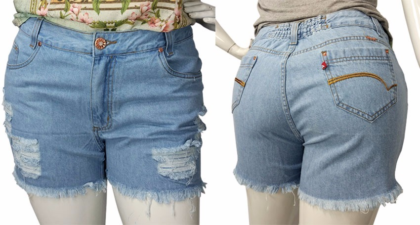 6a765f04fa shorts jeans feminino tamanhos grandes plus size destroyed. Carregando zoom...  shorts jeans feminino destroyed. Carregando zoom.