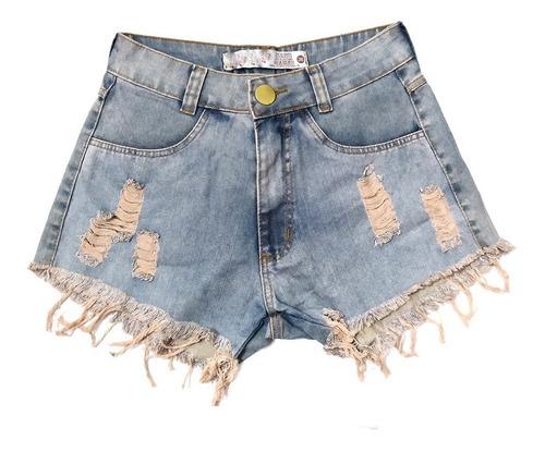 shorts jeans feminino destroyed cintura alta manchado st010