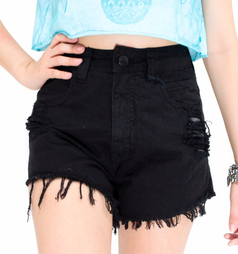 shorts jeans feminino hot pant cintura alta cós estilo anita