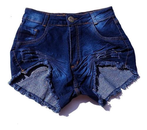shorts jeans feminino lycra escuro desfiado hot pants st002