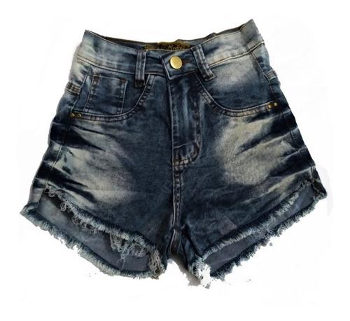 shorts jeans feminino manchado cintura alta destroyed st001