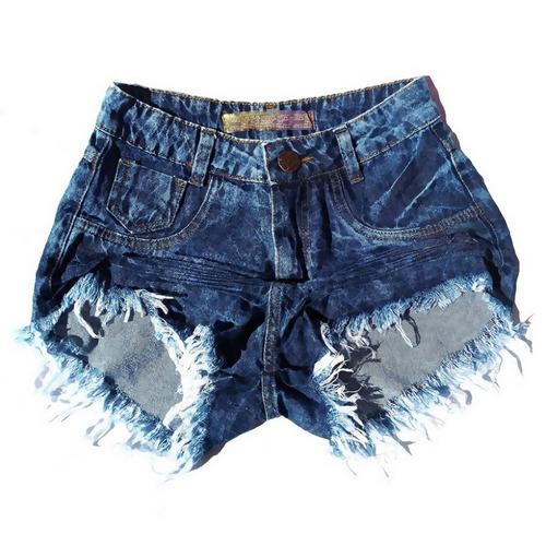 shorts jeans feminino manchado lycra anitta hot pants st001