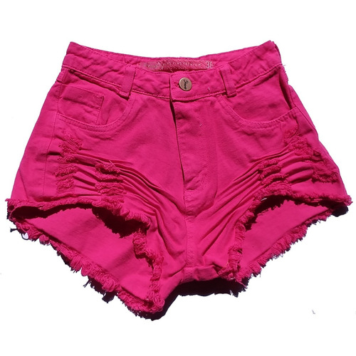 shorts jeans feminino rosa pink claro hot pants anita st015
