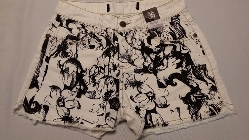 shorts jeans floral tam 36 ref 0157