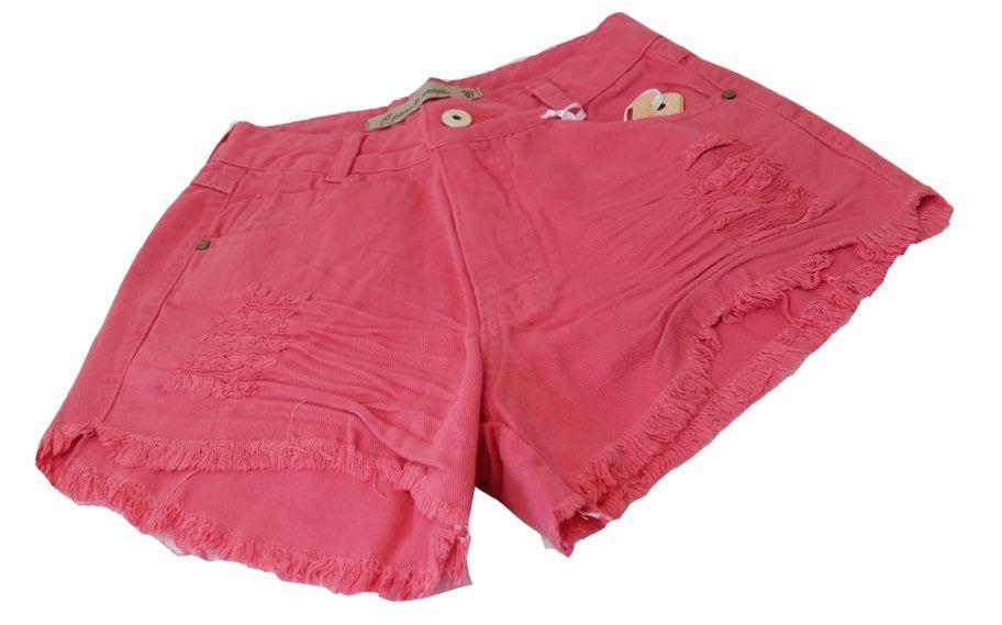 997dcb8b2 shorts jeans hot pants cintura alta destroyed rosa chiclete. Carregando  zoom.