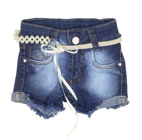 c88cce65cb Shorts Jeans Infantil Feminino Menina Com Cinto Em Pérolas G