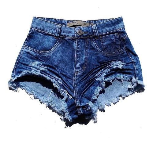 shorts jeans praia feminino cintura alta manchado st010