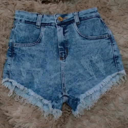 shorts jeans praia feminino cós alto cintura alta st008