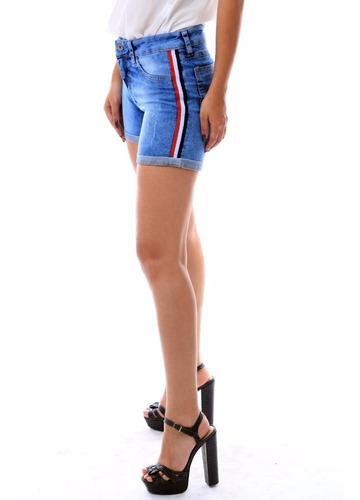 shorts jens feminino listra lateral fashion ultima moda