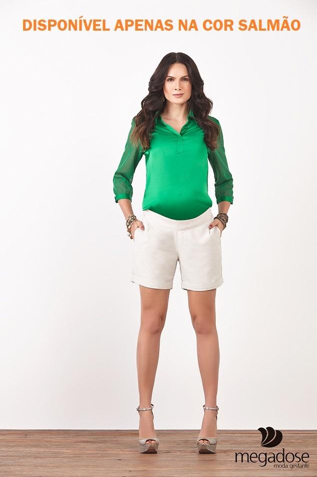 8ed476f28 shorts linho salmão megadose gestante grávida mamma bambino. Carregando  zoom.