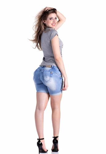 shorts meia coxa jean estilo pitbull pit bull com bojo
