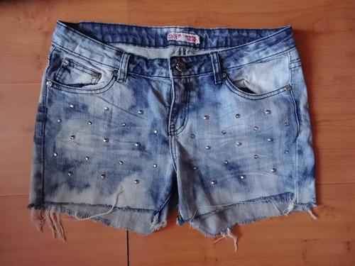 shorts mezclilla con estoperoles talla 11