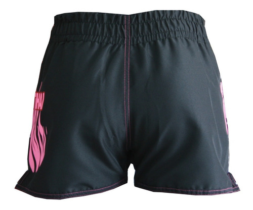 shorts muay-thai fire tanoshi pink - estampado