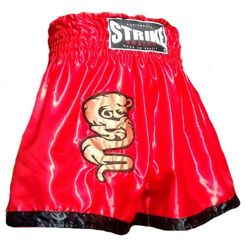 shorts muay thai strike boxing cetim - vermelho - p
