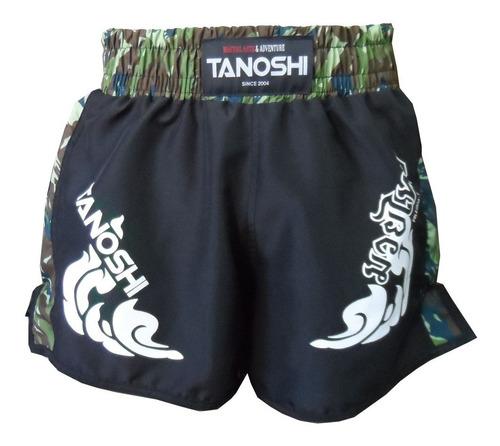 shorts muay-thai trng tanoshi camuflado verde estampado