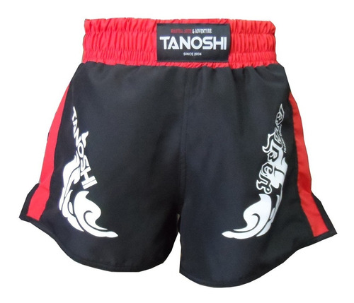 shorts muay-thai vermelho estampado trng tanoshi fight luta