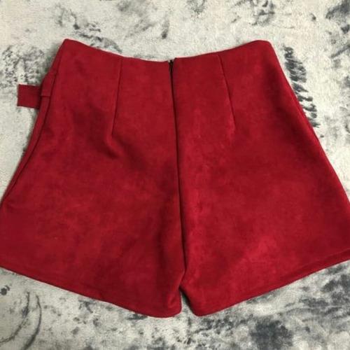 shorts saia feminino suede veludo camurça   kit 4  atacado