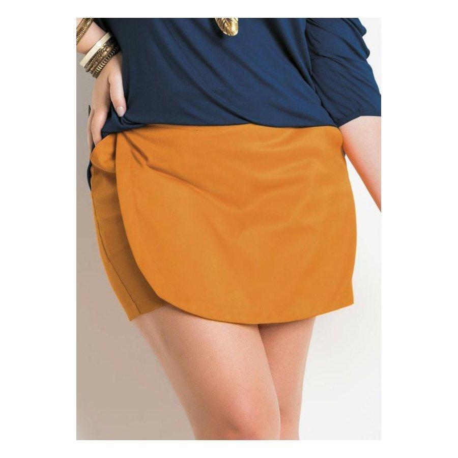 ad80f4cd8 shorts saia laranja com bolsos quintess plus size. Carregando zoom.
