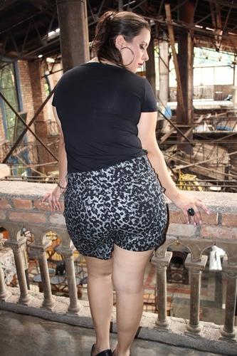 shorts sarja feminino onça plus size 48/54 e 58/60 ref 1500