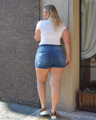 shorts sol clochard plus hot pants com cinto e lycra azul