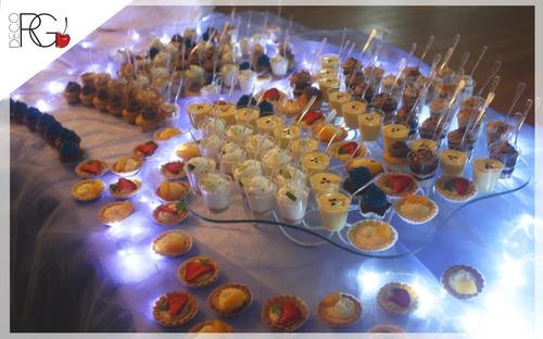 shots dulces, bombones, mini-tartaletas y más