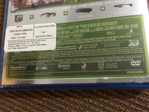 shrek tercero 3d - dvd + bluray + 3d dreamworks