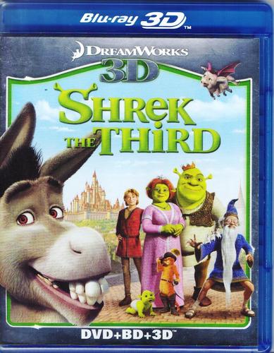 shrek the third tercero pelicula blu-ray 3d + blu-ray + dvd