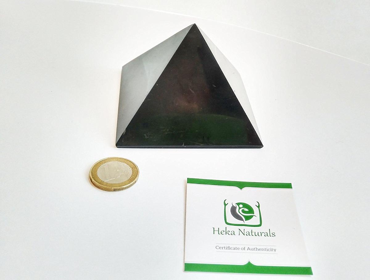 Shungite Polished Pyramid 4 Inch (10cm) Natural Stone Chakr