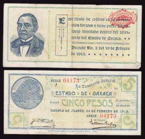 si-oax-12  billete de oaxaca de  5 pesos variedad obscuro