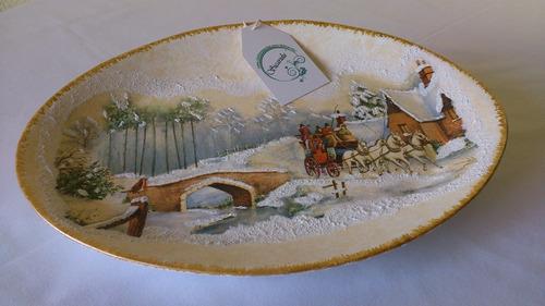 sicarulu, artesanía ceramica de lujo. plato carruaje