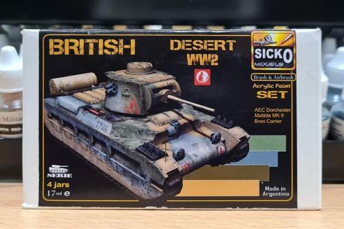 sicko color set british desert ww2 4 colores acrilicos