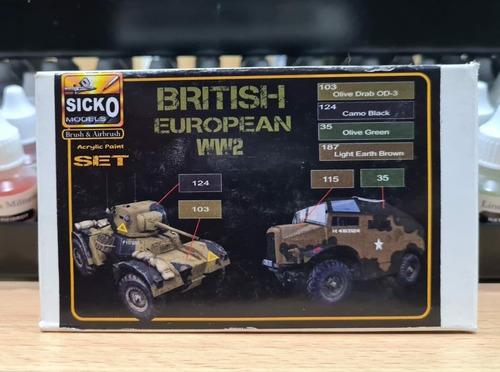 sicko color set british european ww2 4 colores acrilicos