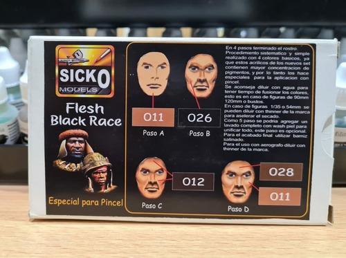 sicko color set flesh black race 4 colores acrilico