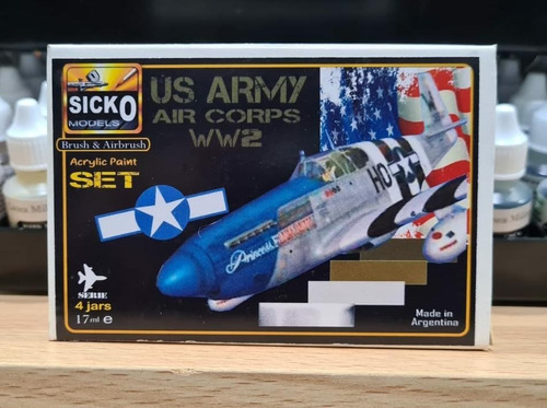 sicko color set us army air corps ww2  4 colores acrilicos
