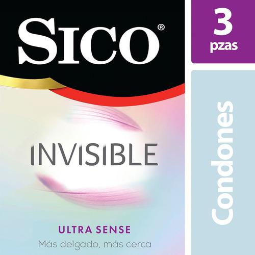 sico invisible ultra sense, cartera con 3 condones delgados