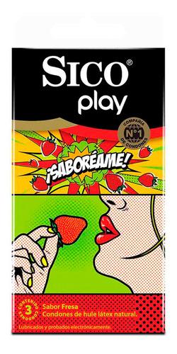 sico play ¡saboréame! cartera con 3 condones de sabor fresa