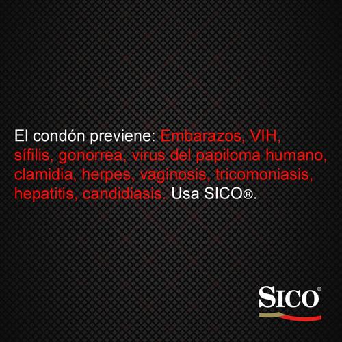 sico safety, cartera con 9 condones anatómicos y lubricados