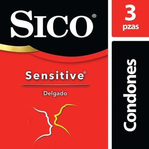 sico sensitive, cartera con 3 condones delgados y lubricados