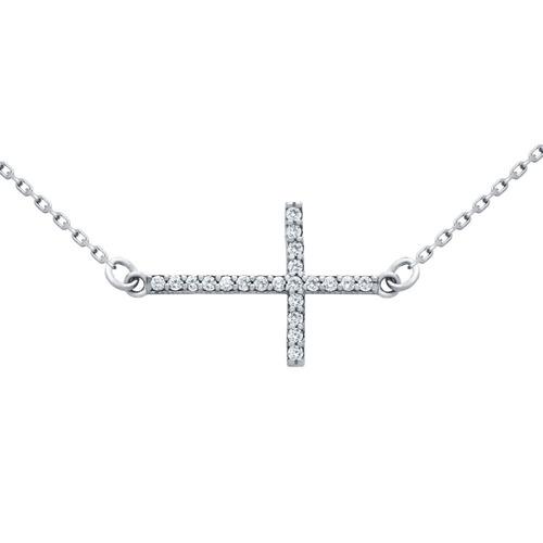 sideways cross cz necklace adjustable 16 +2
