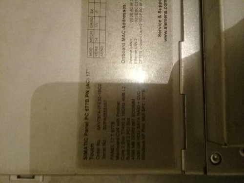 siemens simatic panel pc touch 6av7874-ofe52-1bco
