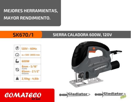 sierra caladora marca gladiator /  600w / 120v - 60hz/ 4,6lb